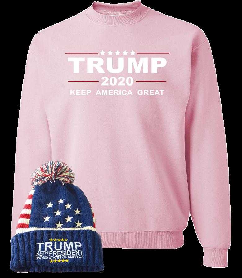 Trump 2020 Pink Sweatshirt With Free Beanie