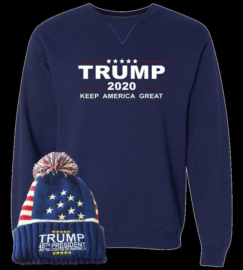 Trump 2020 Sweatshirt With Free Beanie