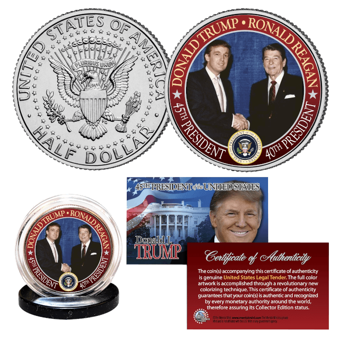 Trump Reagan JFK Half Dollar