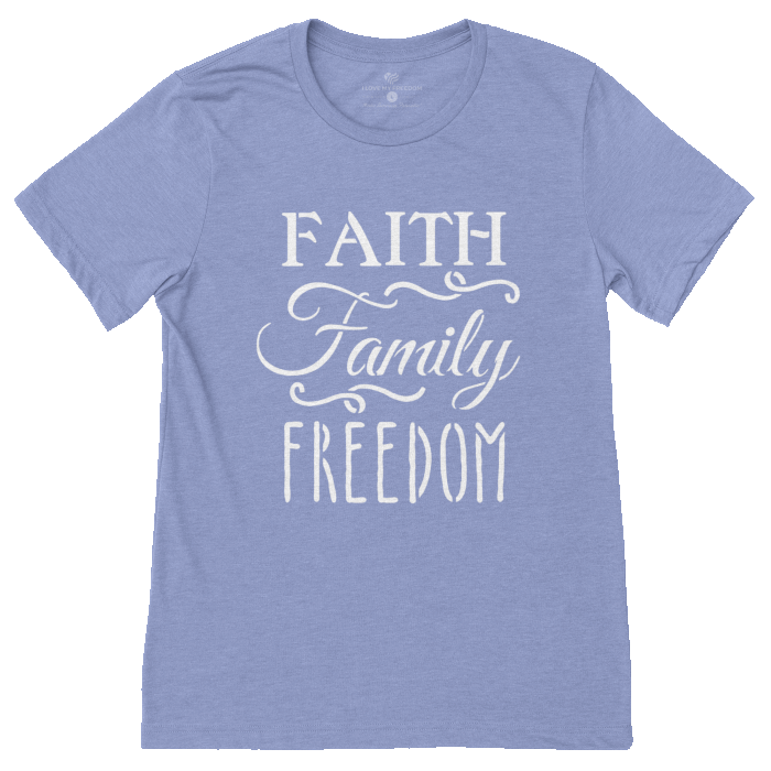 Faith Family Freedom Shirt Blue